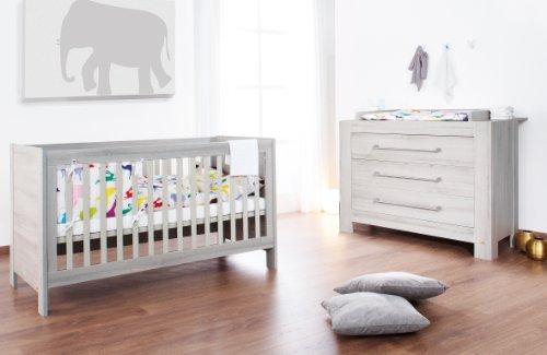 Preisvergleich Produktbild Pinolino Sparset Somnio breit, 2-teilig, Kinderbett (140 x 70 cm) und breite Wickelkommode mit Wickelaufsatz, Esche schilfgrau mit Echtholzstruktur (Art.-Nr. 09 00 71 B)
