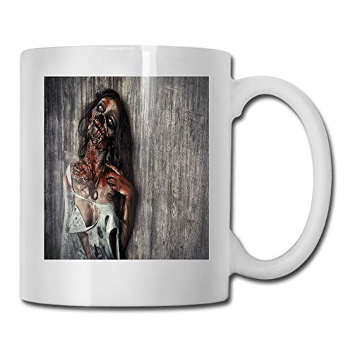 Jolly2T Funny Ceramic Novelty Coffee Mug 11oz,Angry Dead Woman Sacrifice Fantasy Design Mystic Night Halloween Image,Unisex Who Tea Mugs Coffee Cups,Suitable for Office and Home