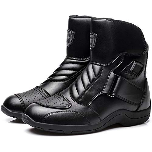 WERT Scarpe da Moto Protezione per Armature Sportive da Uomo Stivali da Moto su Strada Stivali Antiscivolo Stivali da Equitazione locomotivi,Black-39