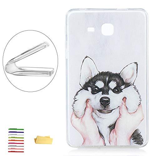 UUcovers, Schutzhülle für Samsung Galaxy Tab A 7.0 Tablet (SM-T280 / T285), dünn, leicht, flexibel, weiches TPU, kristallklar, stoßfest, mit transparentem Bumper-Muster Weiß 01# Cute Husky Dog