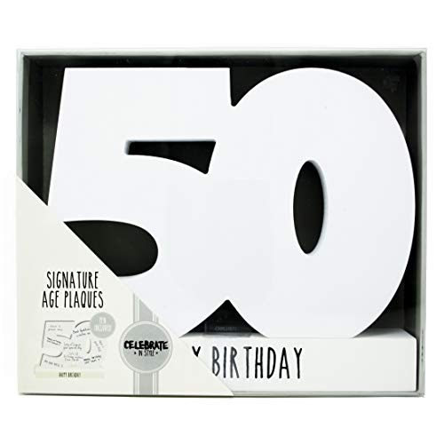 Age 50 Signature Block 50th Birthday Standing Wood Plaque You Sign Pen Included (Bilderrahmen Cousin)