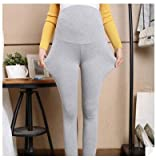Bold N Elegant Women's Grey Comfortable Maternity wear Plus Size Clothing Pregnancy Belly Pants Leggings with Adjustable Elastic Waist