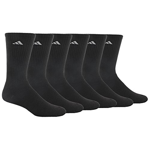 adidas Herren Athletic Crew Socken (6er Pack), Schwarz, Men's Athletic Black/Aluminum 2 (Athletic-crew Pack Socke 6)
