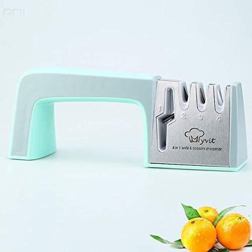 ZheQR Sharpener 4 Stage Professionelle Küche Schärfstein Schere Grinder Messer Wolfram Keramik Schleifstein Werkzeug, Tiffany Blau Grau