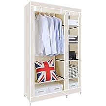 [Upgrade Version]HST Mall Double Canvas wardrobe Cupboard Clothes Storage Solution with Hanging Rail + Storage Shelves 110cm x 45cm x 175cm Beige