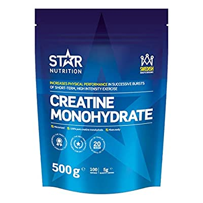 Creatine Monohydrate 500g by Star Nutrition | 100% Pure Premium Quality | Highly Soluble creatine monohydrate Powder. No additives or Filling Agents. | Scandinavian Brand by Star Nutrition
