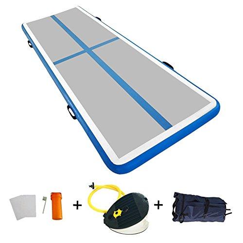 Aufblasbare Airtrack Trainingsmatten für Gym Training Air Floor Yoga Sport Matratzen (3x1x0,1M, Hell Blau)