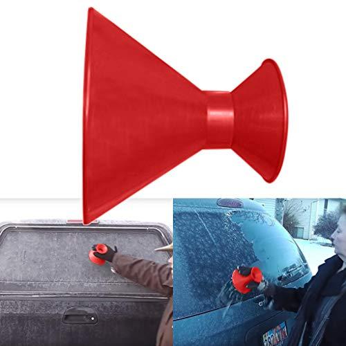 Omiky® Schneeschaufel Rund,Kegelförmiger Eiskratzer, Windschutzscheiben-Schneekratzer, Schneebürste, Schneebesen, Schneeräumung, Schneeräumung von Ihrem Auto/SUV / LKW (Rot#2)