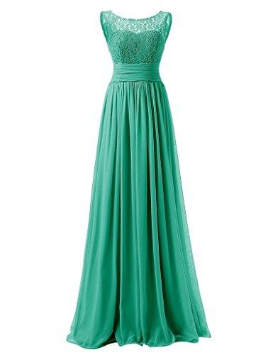 JAEDEN Damen Chiffon Ballkleider Lang Spitze Aermellose Abendkleider Festkleid Grün