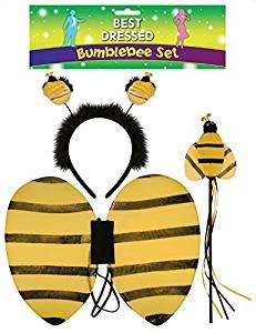 seemeinthat Bumble Bee Set Wings Wand Head Boppers Antennas Kids Fancy Dress Bug World ()