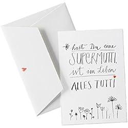 Muttertagskarte - Hast du eine Supermutti, ist im Leben alles tutti - Glückwunschkarte zu Muttertag, Geburtstag oder einfach so als Grußkarte mit Herz - inkl. Umschlag