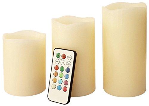 Benross Anika LED-Kerzen mit Fernbedienung, kein Feuer, mit Farbwechsel, 3Stück