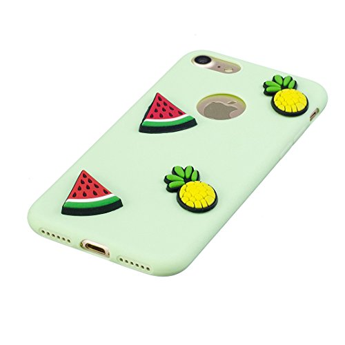 Etui iPhone 7 Housse Souple de Protection Mignonne Cute Case OuDu **Motif 3D** Etui en Silicone Coque TPU Caoutchouc Etui Flexible Lisse Housse Ultra Mince Coque Poids Léger Soft Silicone Case Cas Mot Vert