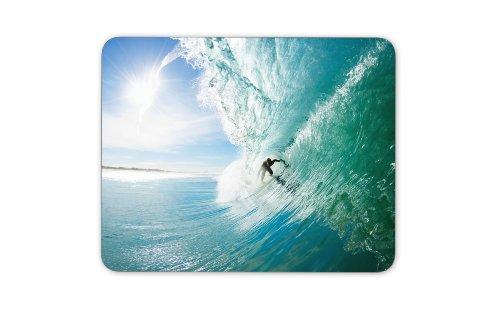 Mauspad / Mouse Pad aus Textil mit Rückseite aus Kautschuk rutschfest für alle Maustypen Motiv: Surfer in einer Riesenwelle | 03 -