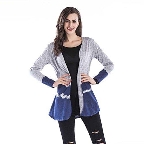 VEMOW Herbst Heißer Verkauf Mid-Season Damen Frauen Farbverlauf Tops Casual Tägliche Sport Workout Kragenlose Weben Strickjacke Jacke (Blau, EU-38/CN-M)