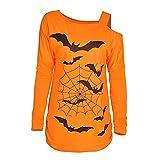 LOPILY Halloween Shirts Fledermaus Kostüm Damen Schulterfrei 3D Sweatshirts für Halloween EIN Schulter Sexy Party Tshirt Gruselige Muster Oberteile Damen Halloween Kostüme 46 2XL (Gelb, 38)