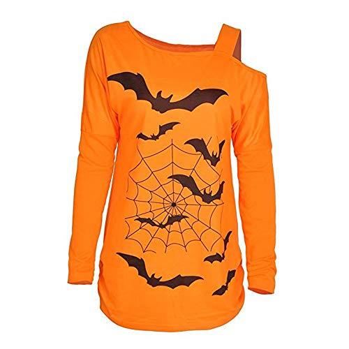 LOPILY Halloween Shirts Fledermaus Kostüm Damen Schulterfrei 3D Sweatshirts für Halloween EIN Schulter Sexy Party Tshirt Gruselige Muster Oberteile Damen Halloween Kostüme 46 2XL (Gelb, (T Shirt Kostüm Selbstgemacht)