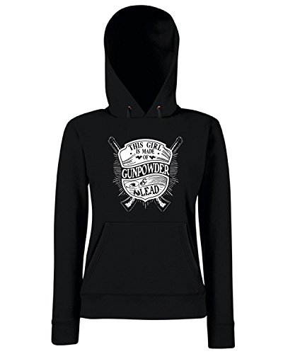 T-Shirtshock - Sweats a capuche Femme TM0683 this girl is made of gunpowder and lead Noir