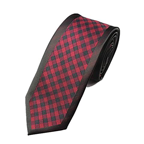 Z-P Mens Retro Red Lattice Luxury Microfiber Necktie Knit Polyester Skinny Tie