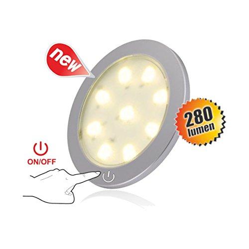 LED SMD Slim Masterleuchte dimmbar mit Touchschalter Aufbauleuchte Aufbau Leuchte Spot Strahler (warmweiß) Slim Bücherregal