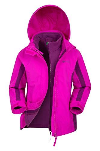 Mountain Warehouse Lightning wasserfeste 3-in-1-Kinder-Jacke - Triclimate-Jacke mit versiegelten Nähten, abnehmbare Kapuze, Fleece-Futter, mehrere Taschen leuchtendes Pink 140 (9-10 Jahre)