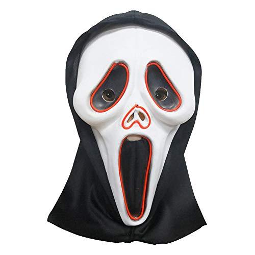 Asien Halloween-Maske Schädel-Maske Horror Glow Schrei Maske EL kaltes Licht-Tanz-Party Luminous Halloween-Zubehör Akku-LED Nicht im Lieferumfang - Glow Tanz Kostüm