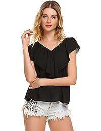 Zeagoo Damen V ausschnitte Bluse Elegant Kurzarm Fledermaus T-shirt Sexy  Chiffon Oberteil in S 2250c3e258