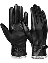 VBIGER Damen Lederhandschuhe Winter Handschuhe Touchscreen Handschuhe Echt Leder Touch Screen Gefüttert aus Kaschmir Wolle Casual Outdoor Sports Handschuhe