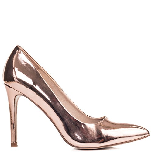 Open Peep Toe High Heel Court Shoes Gold Leather Style Sz 6