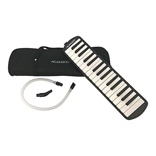 Acandoo Melodica 32 Klavier Tasten für Kinder und Erwachsene in schwarz mit Tasche, Anblas-Schlauch und Mundstück