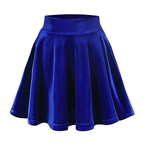 Damen Mädchen Basic Mini Skater Rock Samt Stretch Rock (XL, königsblau) (Blau Rock)