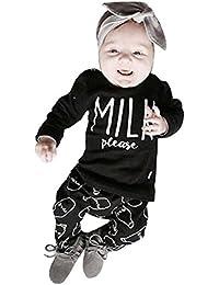 RETUROM Los niños del bebé del invierno del otoño de ropa de manga larga de la letra impresa camiseta tops + Pants equipos fijó