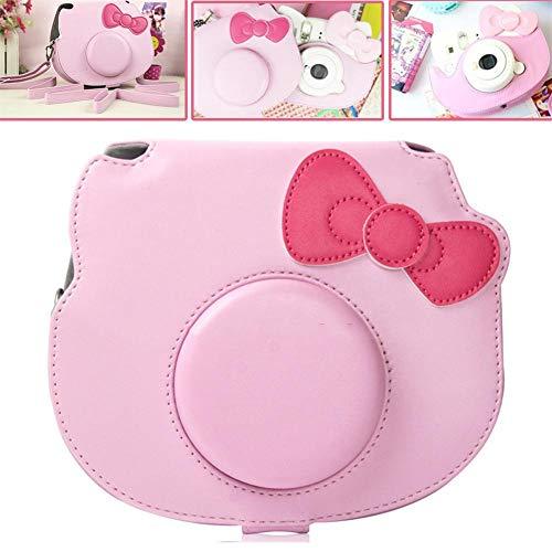 Ridecle Schutzhülle für Fujifilm Instax Mini Hello Kitty-Sofortbildkamera, PU-Leder-Reisetasche mit abnehmbarem Schultergurt und dekorativer Schleife, Pink
