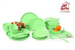 Joy Home Microwave Safe Dinner Set-32 pcs Round Green