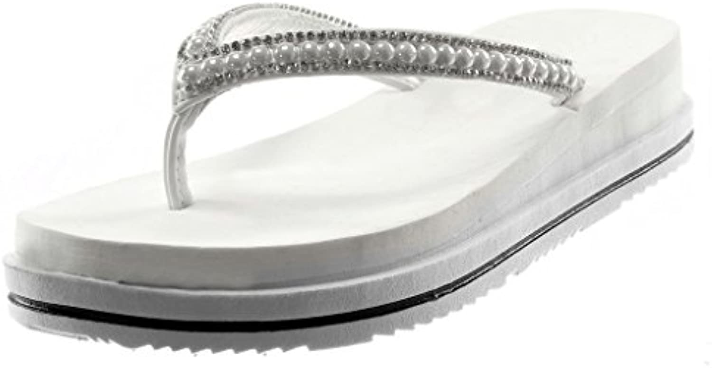 Angkorly Damen Schuhe Flip-Flops Sandalen - Slip-on - Plateauschuhe - Perle - Strass - Bicolor Keilabsatz Highö