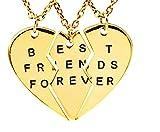 Lovelegis Tre Collane da Donna - Amicizia - Best Friends Forever - Migliori Amiche per 3 - Cuore - Cuoricino X 3 - BFF - Ciondoli - Divise - Spezzate - Incastro - Rotte - Parti - Colore Oro