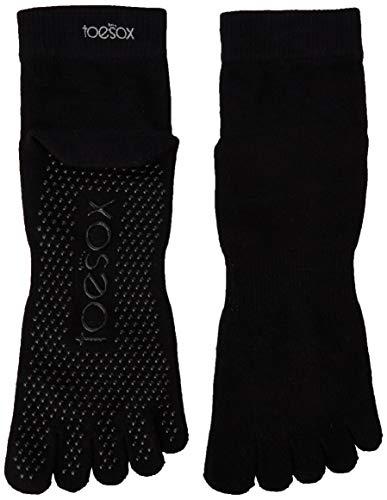 ToeSox - Ankle Full Toe Grip Non-Slip for Yoga - Pilates - Barre - Chaussettes à orteils séparés - Femme - Noir - S