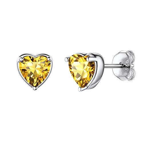 Pendientes amarillos de cristales en forma de corazón