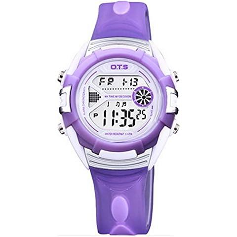 Happy Cherry Unisex Reloj Digital de Cuarzo con Luz Alarma Cronómetro Quartz Watch para Nino Niña Estudiantes Regalo - Color