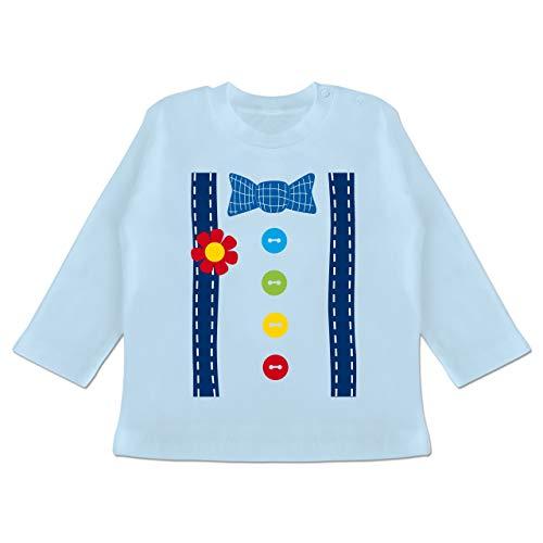 Witzbold Kostüm - Karneval und Fasching Baby - Clown Kostüm blau - 12-18 Monate - Babyblau - BZ11 - Baby T-Shirt Langarm