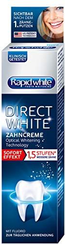 Rapid White Direct White Zahncreme, Zahnpasta für sofort weißere Zähne, ohne Wasserstoffperoxid, Zahnaufhellung, Whitening Technology aus den USA, 1 x 75 ml