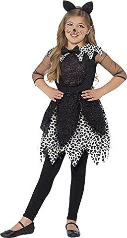Smiffys, Kinder Mädchen Midnight Katze Deluxe Kostüm, Kleid, Schwanz und Haarreif, Größe: M, (Cat Kostüme Amazon)
