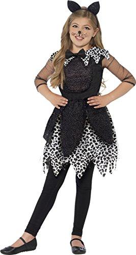 Smiffys, Kinder Mädchen Midnight Katze Deluxe Kostüm, Kleid, Schwanz und Haarreif, Größe: M, (Mädchen Katze Kostüme)