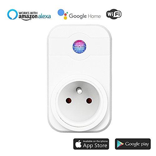 Intelligente Prise WiFi,Prise Connectée Intelligente WiFi Prise Compatible avec Android iOS Alexa Prises Télécommandées Prise Courant Intelligente Prise de Courant Mise en Veille Programmable Smart