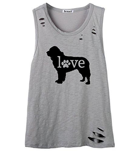 So'each Women's Cute Cartoon Dog Lover Letters Graphic Printed Tanks Camis Tops Grau