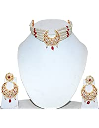 Kala Emporium Beautiful Chand Chic (AAD) Necklace With Earrings Gold Plated Necklace Set With Chandbali Earrings...