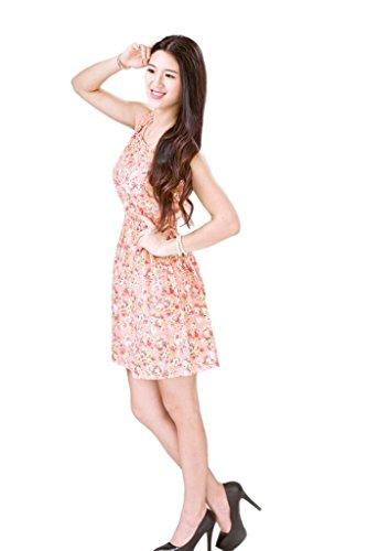Bigood Robe Femme Mousseline de Soie Mini-robe Plage Col Rond Sans Rose P