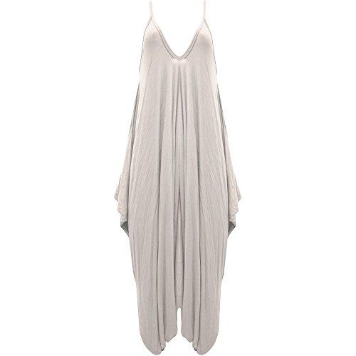 Damen Hareems V Ausschnitt Harems Kleid Einteiler Hausanzug Strampler Damen Übergröße, Beige - Strampelanzug Party Abend Sommerkleid, M/L (UK 12-14)