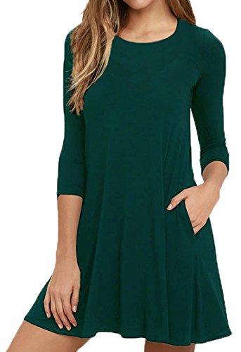 VIISHOW Herbst/Winter Damen Fashion Casual Kleid 3/4 Ärmel Mini Kleid (Dunkelgrün M) Grüne Mini-kleid