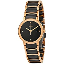 Rado Women's Centrix Diamond 28mm Two Tone Ceramic Band Rose Gold Plated Case Quartz Watch R30555712